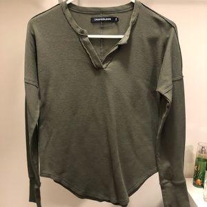 Army-green flannel Calvin shirt